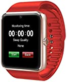 321OU Smart Watch Compatible iOS Android iPhone Samsung for Men Women, Make/Answer Calls, Checking Messages Support, Bluetooth Watch Fitness Tracker with Pedometer Camera SIM SD Card Slot (Red)