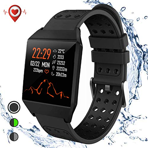 Smart Watch Fitness Tracker, Activity Tracker Heart Rate Monitor SMS&SNS Reminder Tacking Sports Pedometer Watch Compatible with iOS Android Phones bluetooth SmartWatch IP67 Waterproof for Men Women
